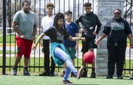 A student from Forest Park Middle School kicks the ball. | Alexa Rogals/Staff Photographer