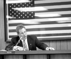 Calderone takes the gavel as the new Mayor at the 1999 Village council meeting.