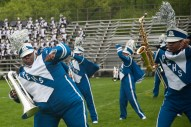 Proviso East band members perform during Battle of the Bands at Proviso East High School. | Shanel Romain/Contributor