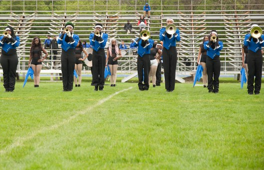 From Cincinnati, Ohio, the Empire of Sound Marching Band, perform during the Battle of the Bands at Proviso East High School. | Shanel Romain/Contributor
