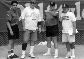 1993 Jerry Main, Ump; Rich Polfus, Slugger; and Dean Pritt, Traffic Ump go over ground rules before the game.