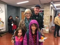 Solenn and Sophie Joseph pose with their grandparents at the Betsy Ross grandparents breakfast, sponsored by District 91's Southside Parent Teacher Organization.