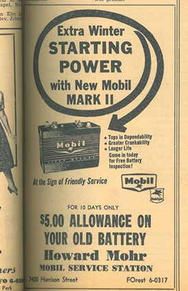 Mohr service station had clever marketing in 1960.