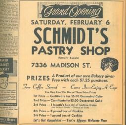 Schmidt's Bakery advertised their opening in 1960.