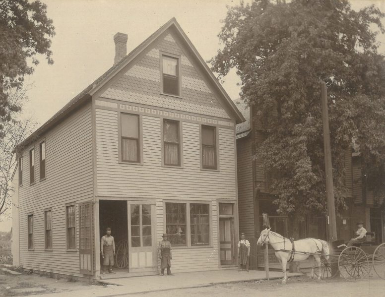 This shop was located at Beloit, on the north side of Madison. Photo in the archives of the Historical Society of Forest Park.