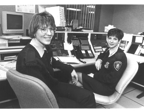 Juggling act: Dispatchers Dora Warnock and Darleen Dunne at work at the Forest Park Police Department 1994.