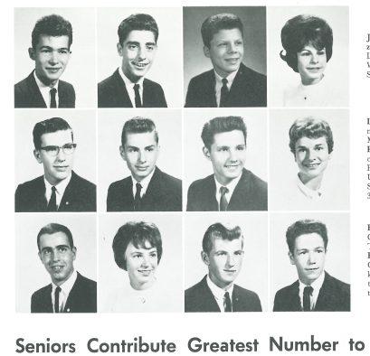 John Prine, upper left corner in the Provi, Proviso East yearbook 1964.