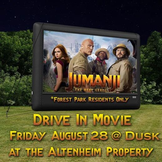 The Park District of Forest Park is holding an outdoor movie at the Altenheim.