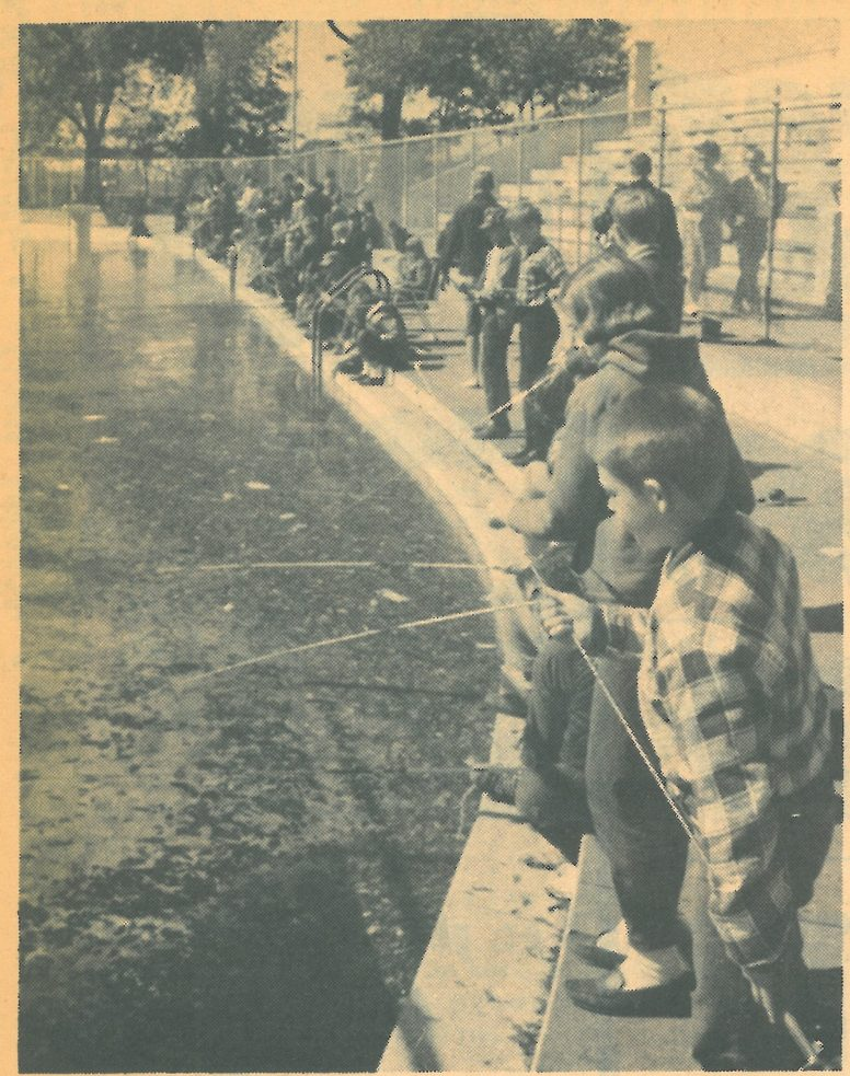 From the October 6, 1966 Forest Park Review, these young anglers are at the Forest Park Swimming Pool fishing for trout.