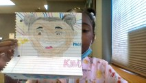 D91 student Ma'Leah displays her artwork for Emily Bruzzini's class.   Photo submitted