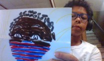 D91 student Jayden displays his artwork for Emily Bruzzini's class. | Photo submitted