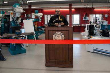 Superintendent James Henderson at a ribbon cutting celebration for the advanced manufacturing lab at Proviso West High School. | Shanel Romain