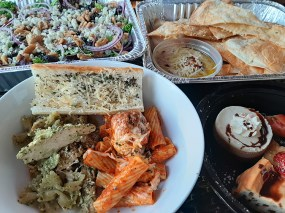 The family meal from Caffe De Luca in Forest Park easily serves a family of six.