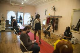 Masked models walked the runway during an August fashion show at Taj B, 7516 Madison St. | File photo