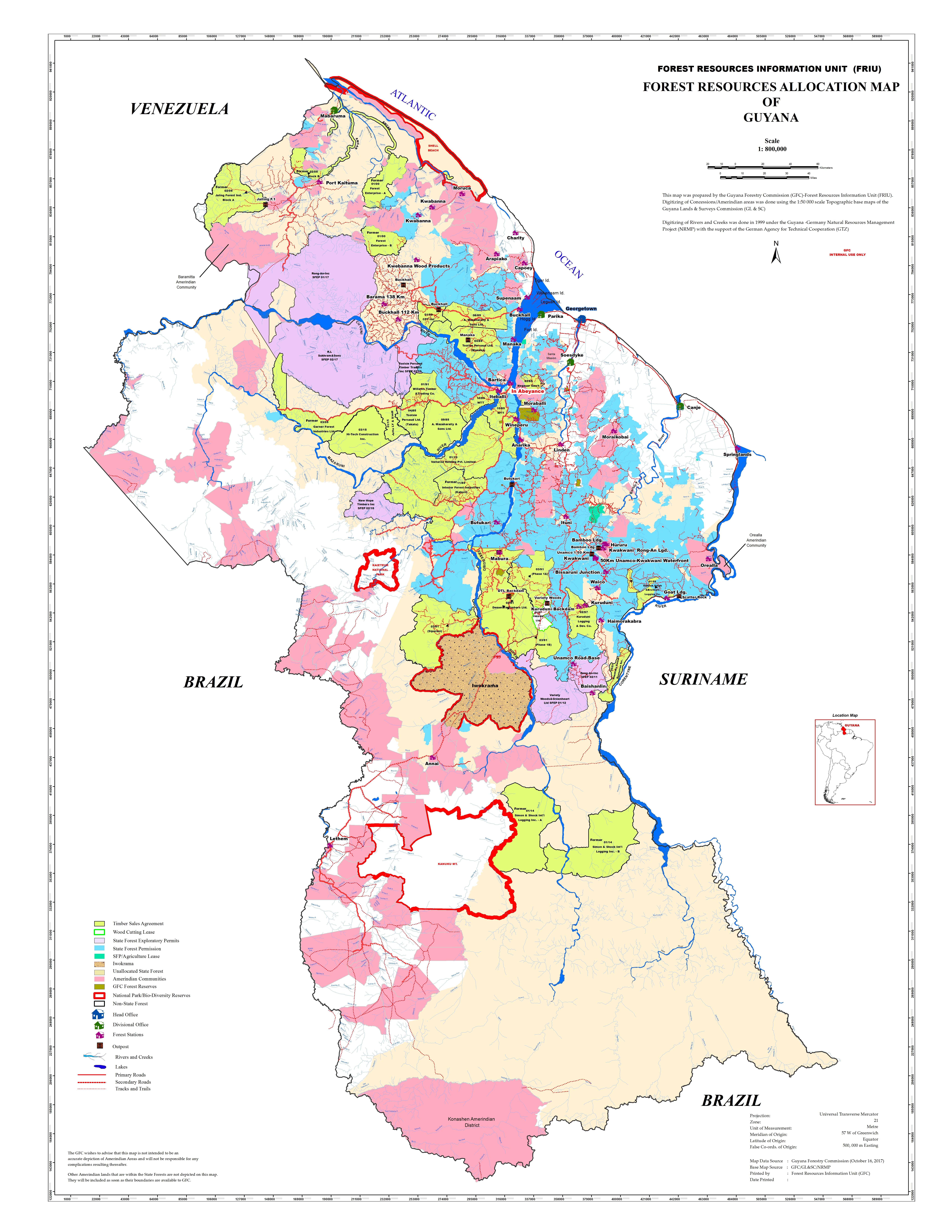 Forest Allocation Map September 2017 | Guyana Forestry Commission