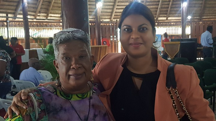 Chairwoman of the Guyana Forestry Commission, Jocelyn Dow and Head of Planning at the GFC, Pradeepa Bholanauth.