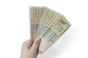 money bills on hand