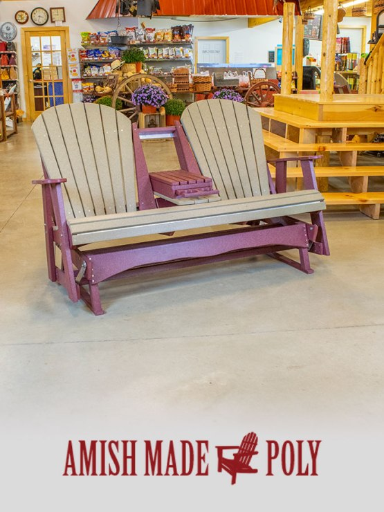 Amish Made Poly - 5ft Glider, Weatherwood on Cherry