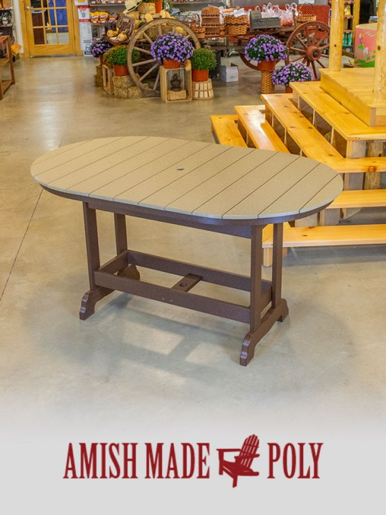 Amish Made Poly - 6' Counter Height Oval Table, Weatherwood on Brown