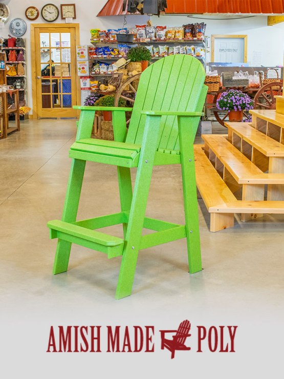 Amish Made Poly - Bar Height Chair (Non-Swivel), Lime