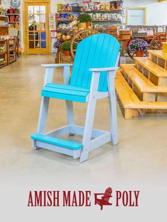 Amish Made Poly - Counter Height Chair (Non-Swivel), Aruba Blue on Light Gray