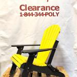 Amish Made Folding Poly Adirondack Chair Patriot Yellow on Black