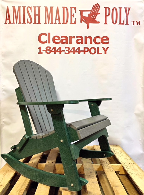 Amish Made Adirondack Rocking Chair Slate on Woodland Green Clearance
