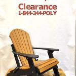 Amish Made Folding Poly Adirondack Chair - Cedar on Black, Clearance