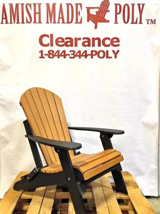 Amish Made Folding Poly Adirondack Chair - Cedar on Black, Clearance