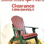 Amish Made Folding Poly Adirondack Chair Cherry on Woodland Green