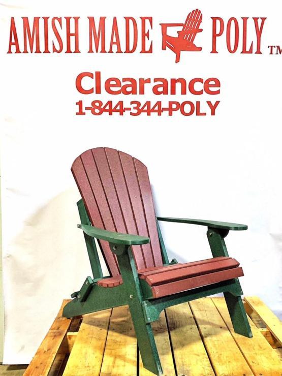 Amish Made Folding Poly Adirondack Chair Cherry on Woodland Green