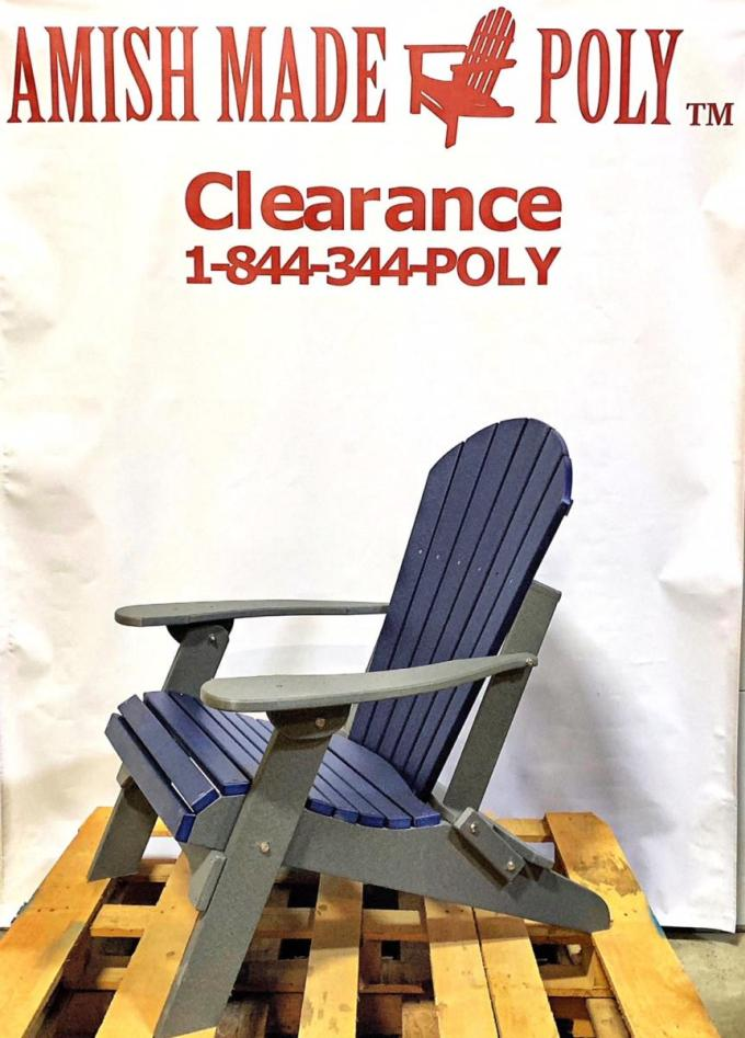 Amish Made Folding Poly Adirondack Chair - Patriot Blue on Slate, Clearance