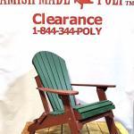 Amish Made Folding Poly Adirondack Chair Woodland green on Cherry