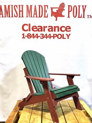 Amish Made Folding Poly Adirondack Chair Woodland green on Cherry