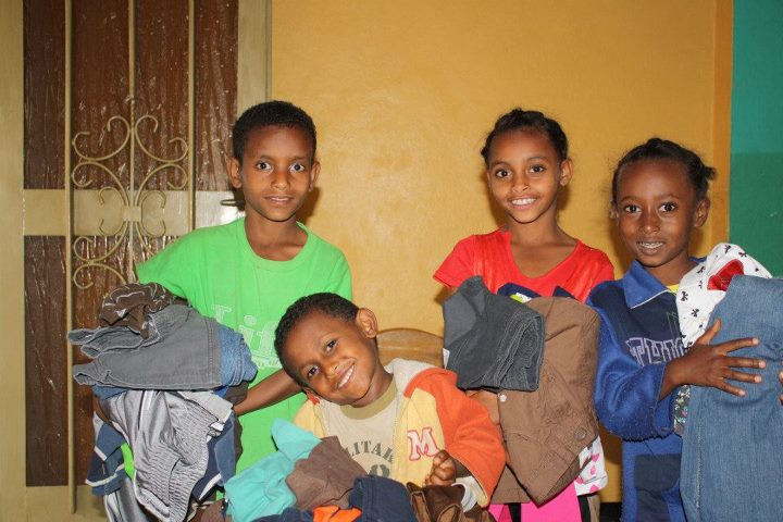 Children with new clothes!