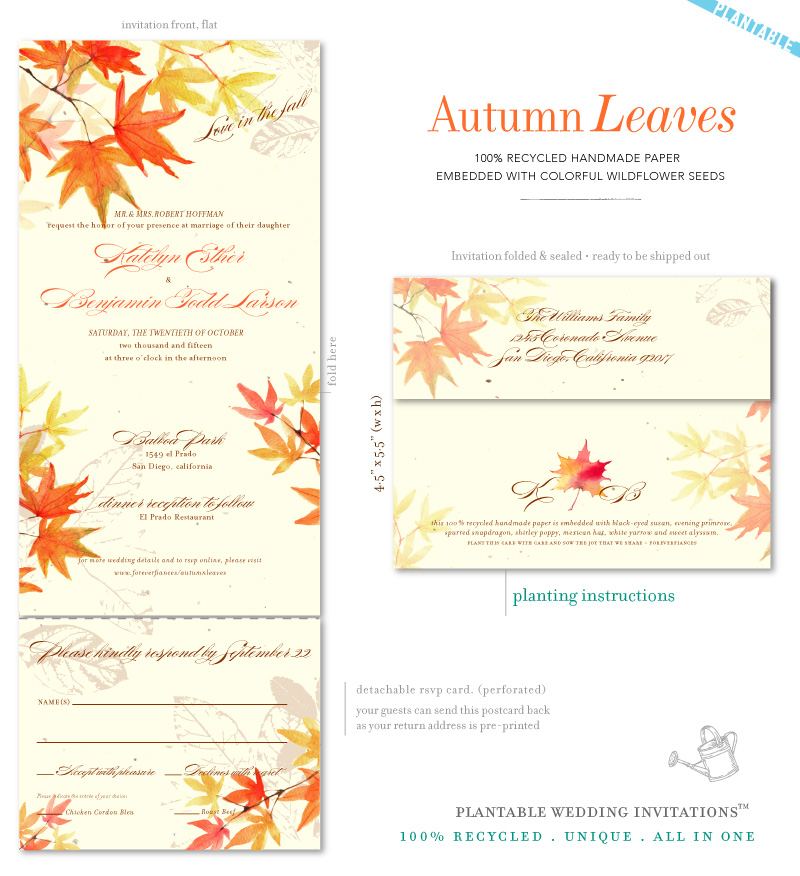 Watercolor Fall Leaves Wedding Invitations