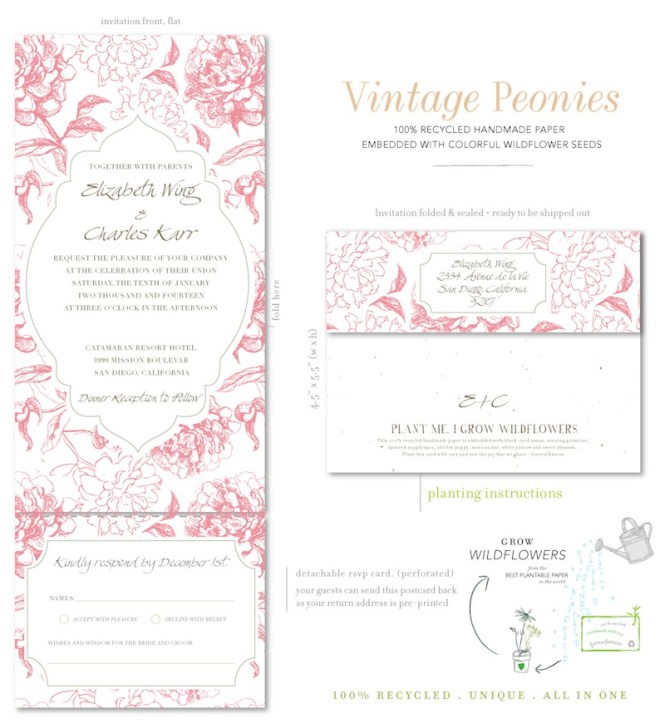 Glitter Peony Wedding Invitations