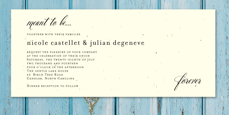 Plantable Wedding Invitations On Seeded Paperbeginnings By Invitation Wording With Ceremony And Reception