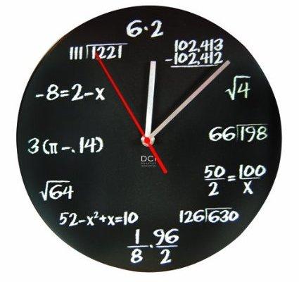 Mathematics Blackboard Pop Quiz Clock