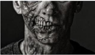 Close up of a zombie's face