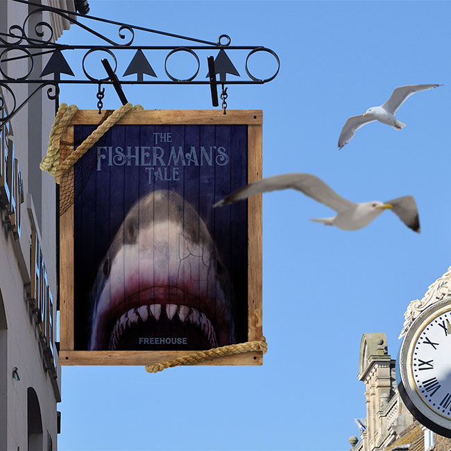 British pub signs Jaws