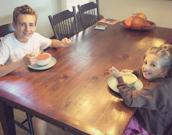 kids eating soup