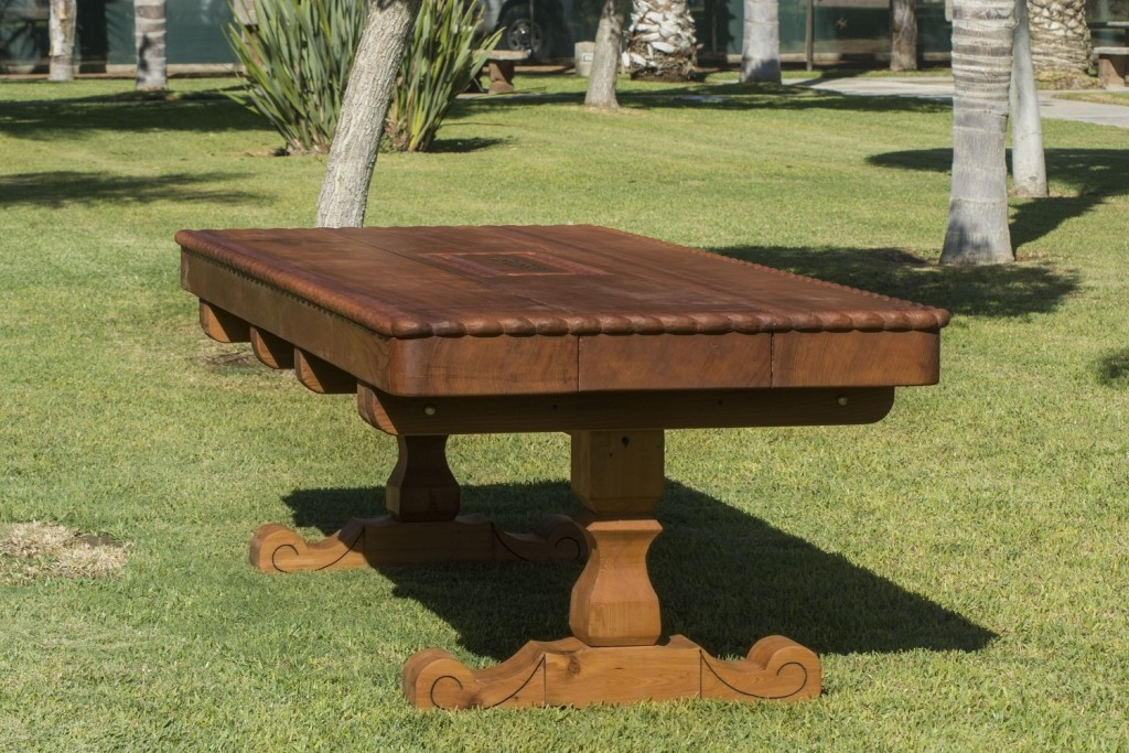 Custom Trestle Natural Wood Outdoor Table Forever Redwood