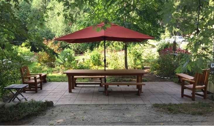 A redwood picnic table, and an outdoor experience, that is Accessible To ALL