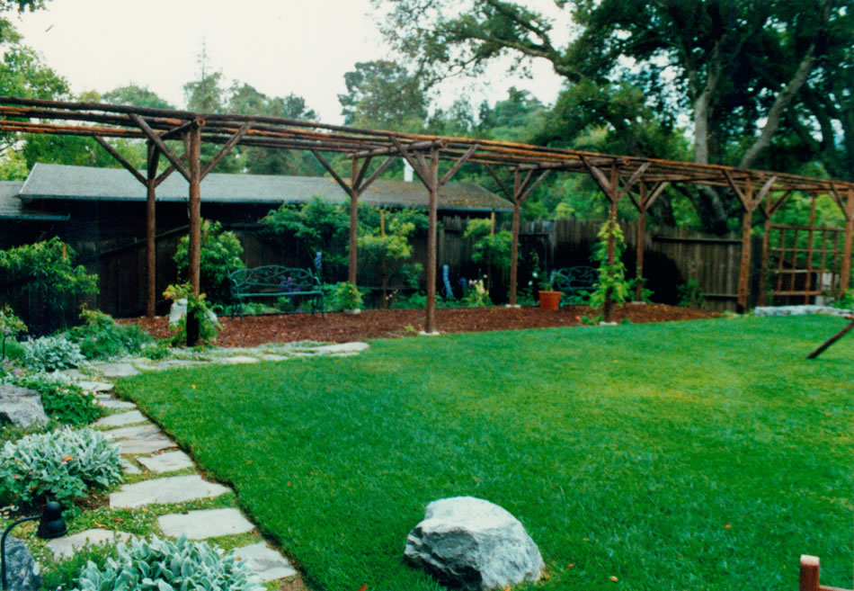 Custom Pergola Made of Redwood Poles