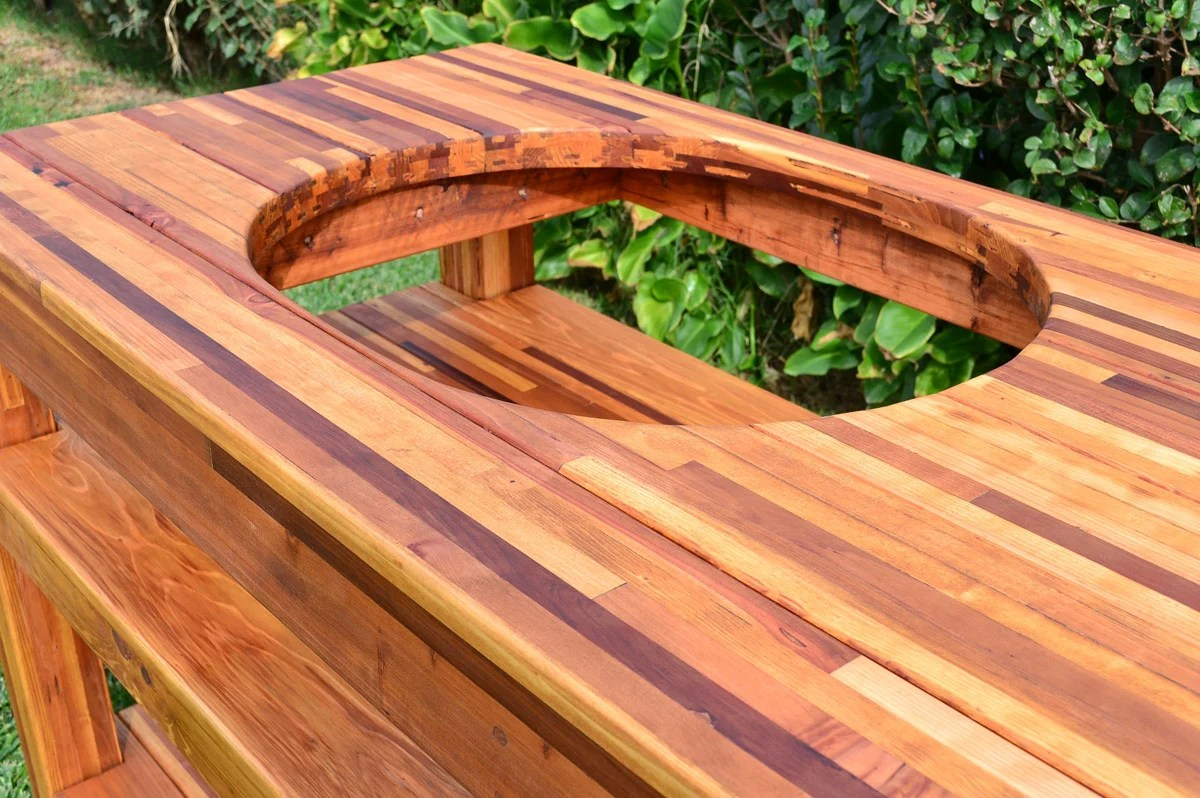 outdoor wood table with built in grill