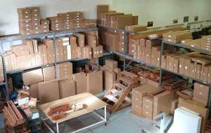 Boxes of Redwood furniture ready to ship across the country... and farther