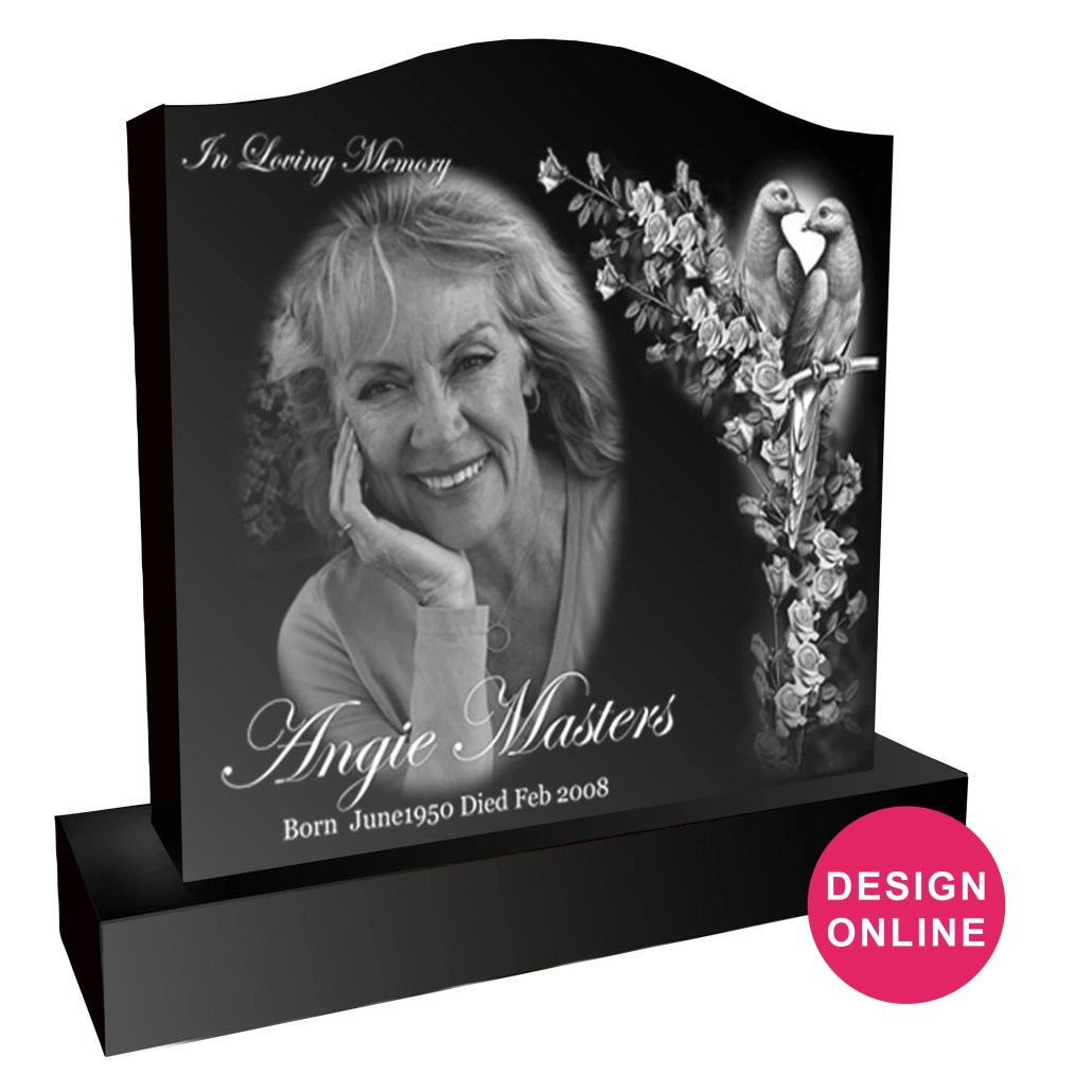 Laser Etched Headstone Serpentine Angie Masters