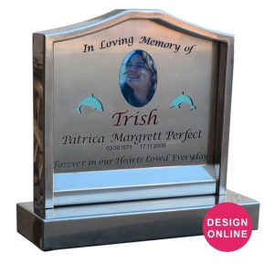 stainless steel headstone with glass backing