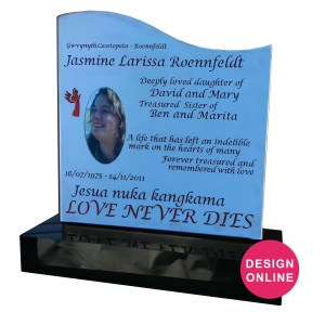 Laser cut stainless steel headstone with lifetime image and glass backing